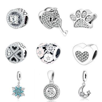 DCCKFC9 Pandora Charms Orignal Bracelet 100% 925 Sterling Silver Charm Beads For Mother Gift DIY Jewelry Factory Price