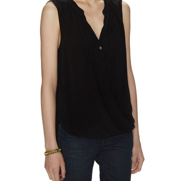 Draped Wrap Button Up Top
