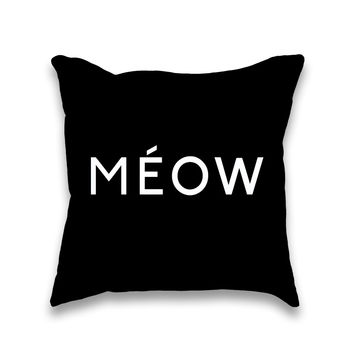 Meow Feline Couture Typography Pillow