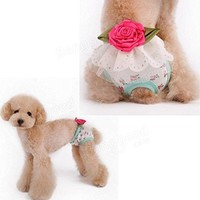 Bazaar Pet Female Dog Puppy Underwear Floral Sanitary Shorts Pant Diaper