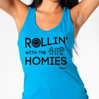 "EDM Shirts - ""Rollin' With the Homies"" - Women's Neon Tanks and Tees - Bad Kids Clothing – Bad Kids Clothing"