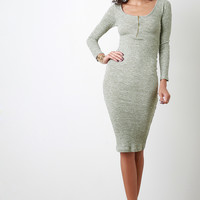 Marled Vertical Ribbed Knit Dress
