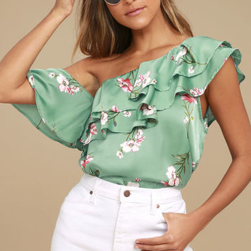Paradise City Sage Green Satin Floral Print Off-the-Shoulder Top