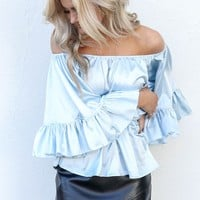 Tender Heart Blue Bell Sleeve Top