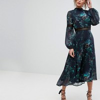 Hope & Ivy Printed Open Back Midi Dress With Lace Inserts at asos.com