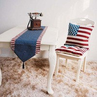 Vintage Retro American Flag Pattern Table Flags Placemat Home Tablecloth Table Runners For Wedding