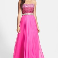 Sherri Hill Strapless Beaded Bodice Gown
