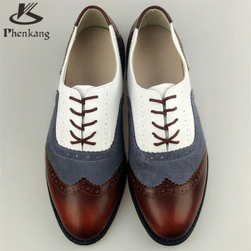 Genuine leather big man us size 10 designer vintage flat shoes round toe handmade brown white grey oxford shoes for men with fur