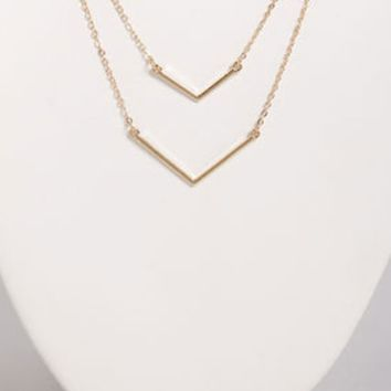 Chevron Gold Layered Necklace