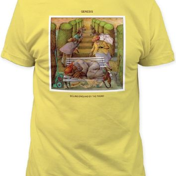 Genesis Album Cover T-shirt - Selling England By the Pound Album Cover Artwork | Men's Yellow Shirt