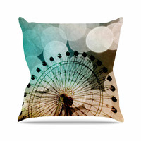 "Sylvia Coomes ""Ferris Wheel Silhouette"" Beige Teal Outdoor Throw Pillow"