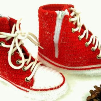 DCKL9 Converse All Star Red Canvas, Red Converse High Top Sneaker, Crochet Converse Slippers