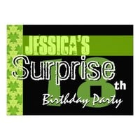 Surprise 18th Birthday Lime Green Pattern Invite