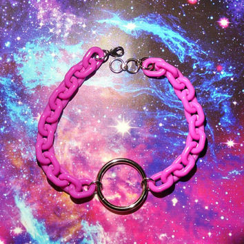Big Purple Chain O-Ring Choker Collar Cute Grunge