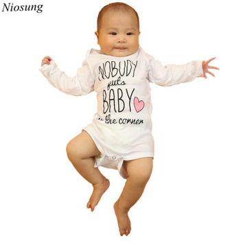 Niosung Toddler Baby Boys Girls Long Sleeve Letter Printing Romper Jumpsuit Love Vest T-shirt White Kids Child Clothing z