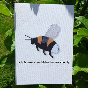 Bumblebee card, brightly coloured buzzing bee, this hand-illustrated bumble bee greeting card is set to cause a buzz