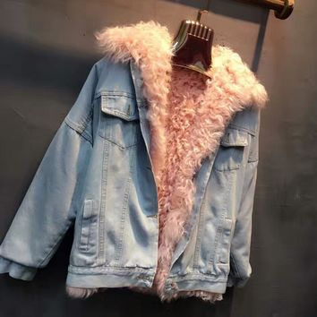 Real Lamb fur Liner Medium Women Jeans Jacket Detachable Lamb Fur Liner Lady Overcoat Liner can be Vest LM