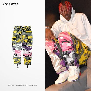 Aolamegs Camo Men Cargo Pants Baggy Colored Camouflage Hip Hop Dancing Trousers Fashion High Street Male Casual Joggers Pants