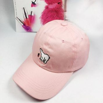 ONETOW Day-First? Pink Polar Bear Embroidered Baseball Cap Hat