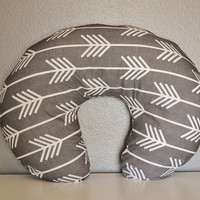 Nursing Pillow Cover Charcoal Arrow- Nursing Pillow Cover - Arrow Boppy Cover - Soft Minky Boppy Cover - Grey Cover - Organic Boppy
