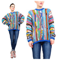 90s Authentic Coogi Australia Cosby Colorful Cotton Knit Slouchy Pullover Sweater Jumper M L