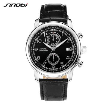 SINOBI Top Luxury Brand Business Men's Multifunction Wrist Watches Black Leather Watchband Male Geneva Quartz Clock 2017 New