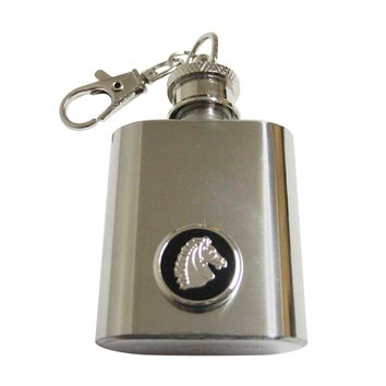 Black and Silver Toned Horse Head 1 Oz. Stainless Steel Key Chain Flask