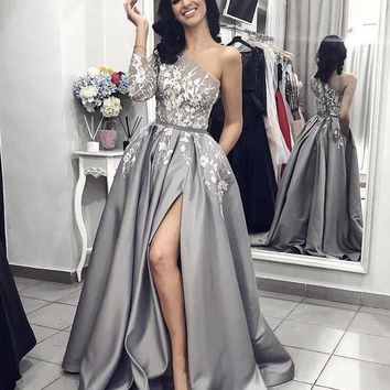 Evening Dresses One Sleeve Prom Dresses Appliques Pocket