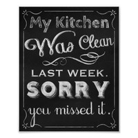 Kitchen print, Chalk art prints chalkboard