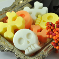 Kids Soaps - Set of Six Skulls and Crossbones - Candy Corn Scent - HALLOWEEN