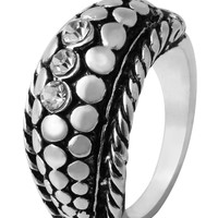 Silver Scale Jewel Etched Heirloom Ring