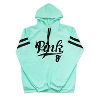 Fleece Cotton Hoodie Women's Fashion Loose Pink 86 Letter Print Hooded Sweatshirt Long Sleeve Hoody Hoodie Top Green