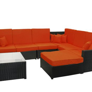 8-Piece Black Resin Wicker Outdoor Furniture Sectional Sofa Table and Ottoman Set - Orange Cushions