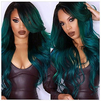 """S-noilite 28"""" 100% Long Straight Synthetic Heat Resistant Costume Wigs Ombre Two Tone Dyeing Color Breathable Full Head Hair Wigs (long wigs, Black to Green)"""