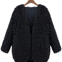 Black V Neck Long Sleeve Faux Fur Coat - Sheinside.com