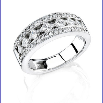 Gregorio 18K White Gold Diamond Wedding Band R-224