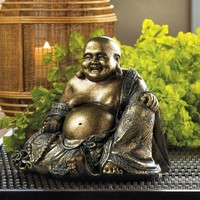 Smiling Buddha Statue With Metallic Fleck Finish