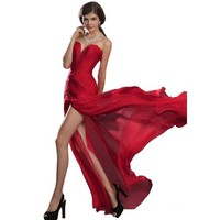 Sale eDressit New Strapless Ruched bodice Red Evening Dress (00120502)