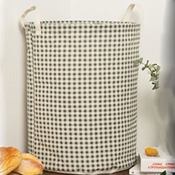 Green Stripe Foldable Cloth Laundry Hamper Toy Storage Basket