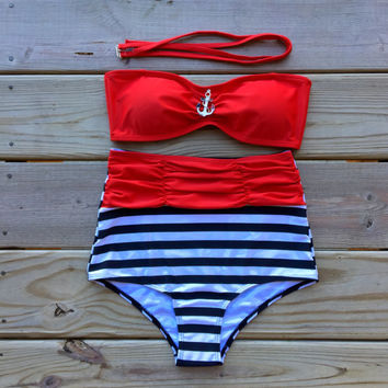 Retro Style Anchor Accent Red Bandeau Top & Red by KoalaTFashion
