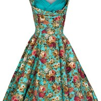 Lindy Bop Women's 'Ophelia' Vintage 1950's Garden Party Picnic Dress (S, Turquoise)