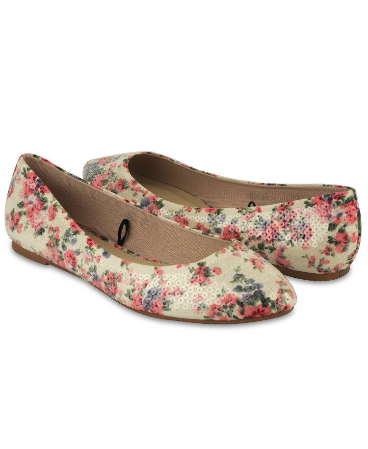 Sequined Floral Flats   FOREVER21 - 2000043543