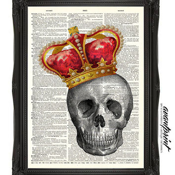 Skull Series - The King of Bones Original Print on an Unframed Upcycled Bookpage