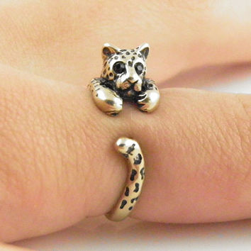 Animal Wrap Ring - Leopard - Yellow Bronze - Adjustable Ring - keja jewelry