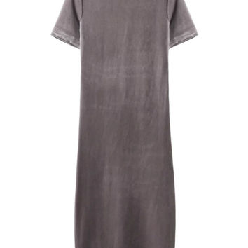 Camel Short Sleeve Velvet Midi Dress