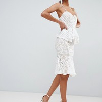 Boohoo Lace Peplum Midi Dress at asos.com