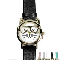 Geneva Hipster Cat Watches - Various Colors