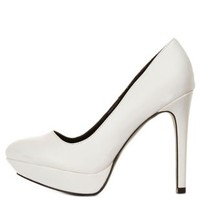 White Almond Toe Platform Pumps by Charlotte Russe