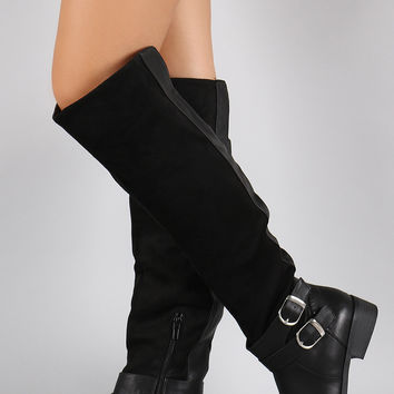 Double Buckle Suede Contrast Riding Knee High Boots