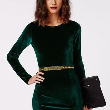 Missguided - Larkin Velvet Bodycon Dress Green